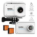 WiMiUS Action Kamera, L3 Action Cam 4K 16MP Aktionkameras mit 2.45'' LCD Touch Screen HD Actioncam WiFi Wasserdicht Helmkamera Motorrad mit 2 Akkus und Zubehör Kits(Weiß)