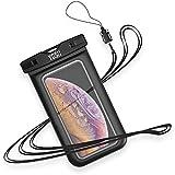 YOSH Wasserdichte Handyhülle universal Tasche für iPhone X/8/7/6/6s Plus Samsung S9/S8/S7/S6/S5/A5 Huawei Wasser-, Staub-, schmutz-, schneegeschützte Hülle, für Handys bis zu 6 Zoll (Schwarz)