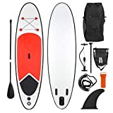 Ribelli SUP Board Stand Up Paddle Surf-Board Surfbrett Paddel ISUP Paddling - Aufblasbar - inkl. mit Rucksack, Paddel, Fine, Luftpumpe, Reparaturset und Fußband (Länge 305 cm)