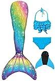 Decool Neu Mädchen Meerjungfrau Schwanz Badeanzug - Prinzessin Cosplay Bademode für das Schwimmen mit Bikini Set und Monoflosse, 4 Stück Set, Mehrfarbig (Ps13), 120