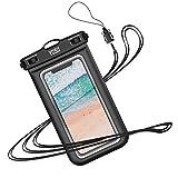 YOSH wasserdichte Handyhülle universal Tasche für iPhone X/8/7/6/6s Plus für Samsung S9/S8/S7/S6/S5/A5 Huawei Wasser-, Staub-, schmutz-, schneegeschützte Hülle, für Handys bis zu 6 Zoll (Schwarz)