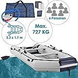 ArtSport Schlauchboot 3,80 m – mit 2 Sitzbänken, Aluboden, Luftpumpe, Reparaturset und Paddel - Aufblasbares Ruderboot in Grau - PVC